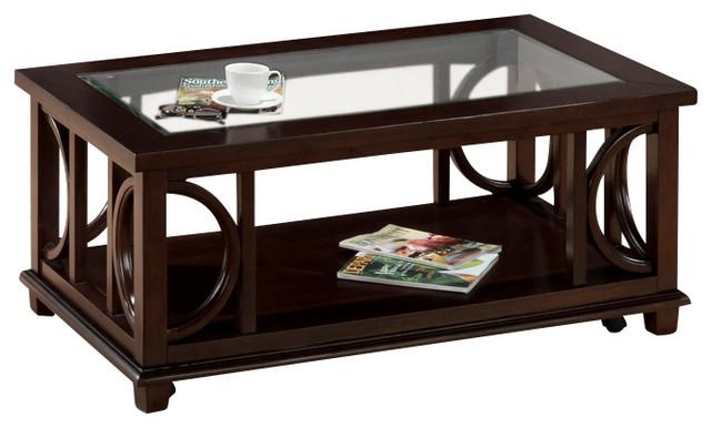 Jofran Panama 4 Piece Coffee Table Set With Shelf Glass Insert And