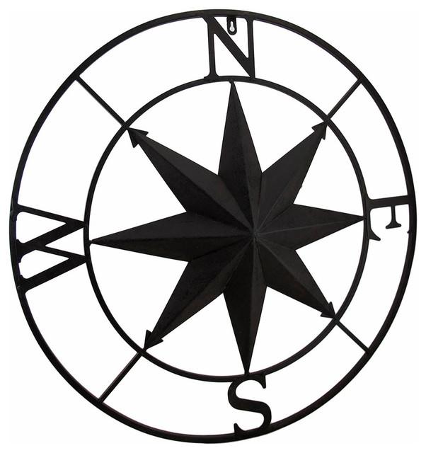 "Distressed Finish 26"" Diameter Compass Rose Nautical Wall Hanging."