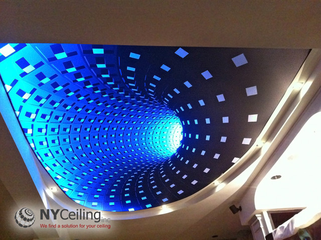Fabric Seamless Stretch Ceiling With 3d Print Quot Dark Hole Quot And Led Strip Lighting New York By