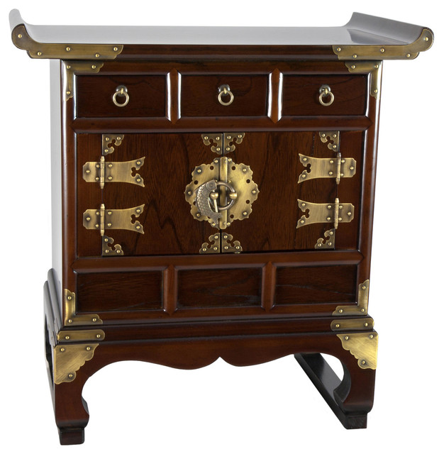 Korean Antique Style 3 Drawer End Table Cabinet - Traditional ...