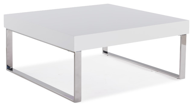 Echo Square Cocktail Table With Chrome Legs White