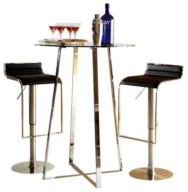 Ursula B 3 Pc Contemporary Bar Table Amp Adjustable Stools