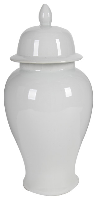 "Porcelain Ginger Jar With Lid, White, 10""x20"""
