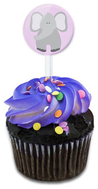 Elephant Cute Pastel Cupcake Toppers Picks Set.
