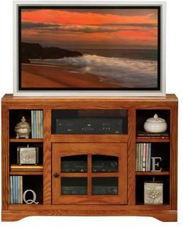 Oak Ridge Flat Screen TV Base With Bookcase Shelves, Concord Cherry-Oak