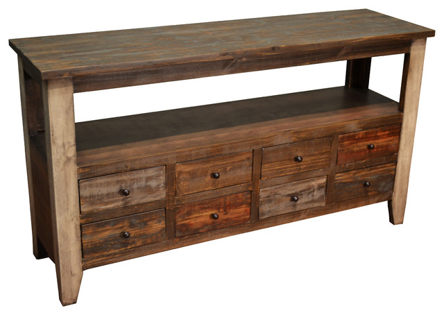 Rustic Sofa Table With 8 Drawers Farmhouse Console