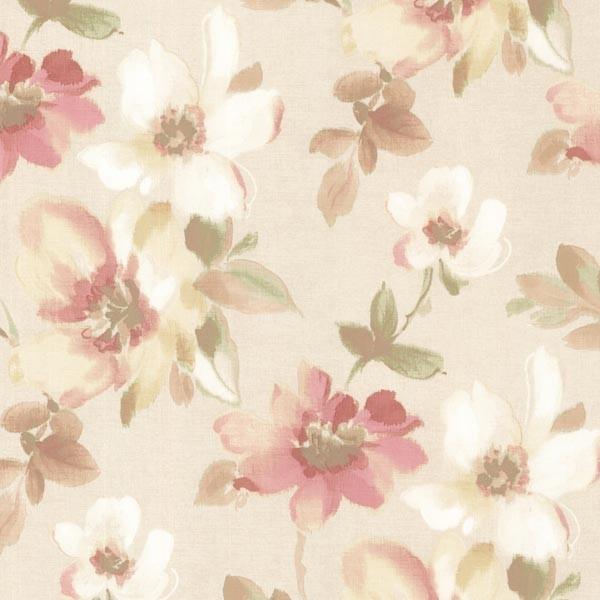 Lynette Peach Watercolour Floral Wallpaper Contemporary