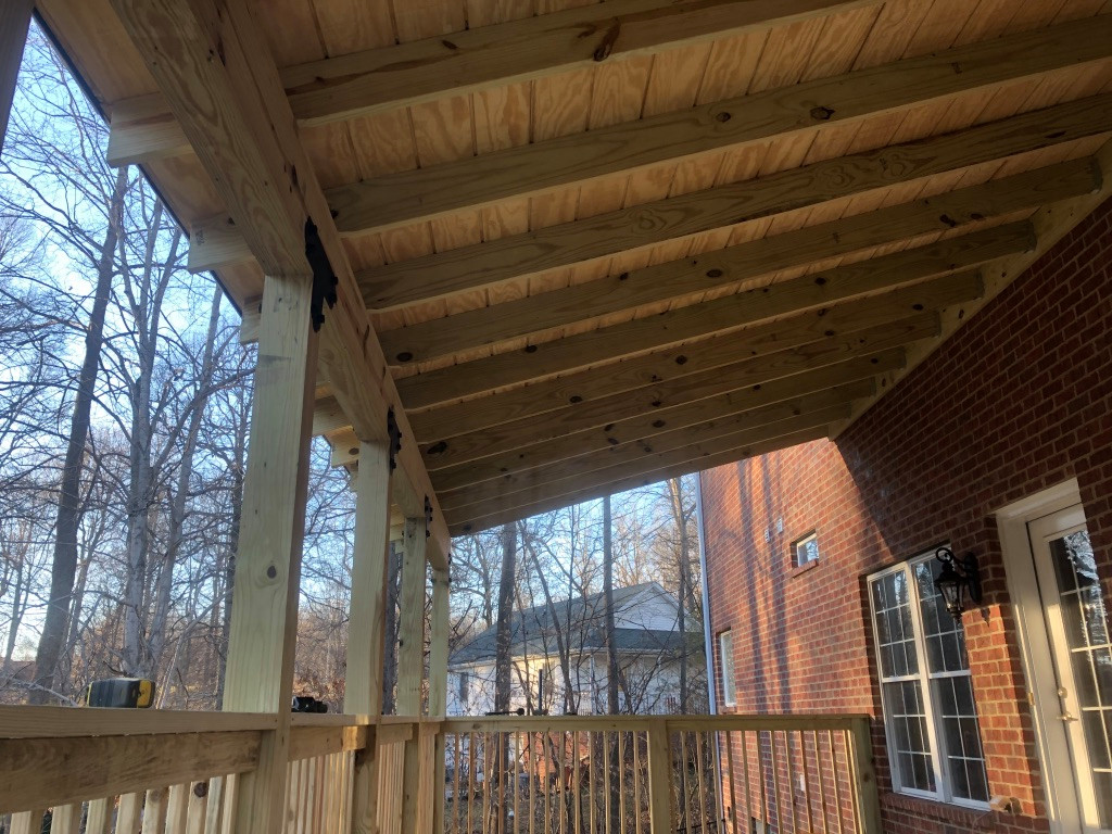 L-shape covered porch