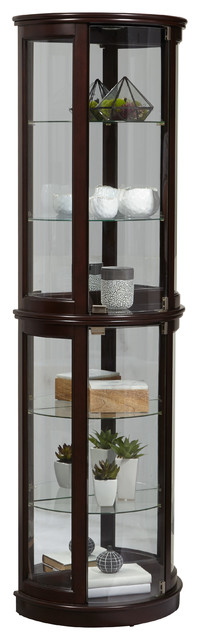 Pulaski Small Half Round Curio, Warm Cherry