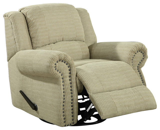 Homelegance Quinn Swivel Rocking Reclining Chair In Olive Chenille  Traditional Recliner Chairs