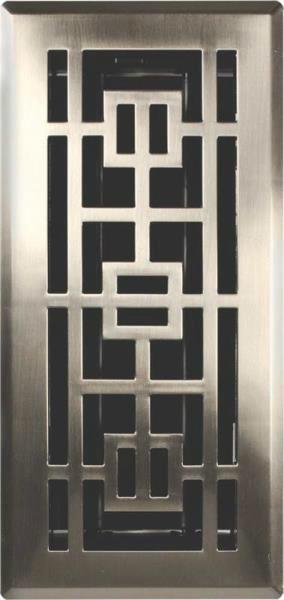 Imperial Oriental Floor Register, 4x12, Satin Nickel.