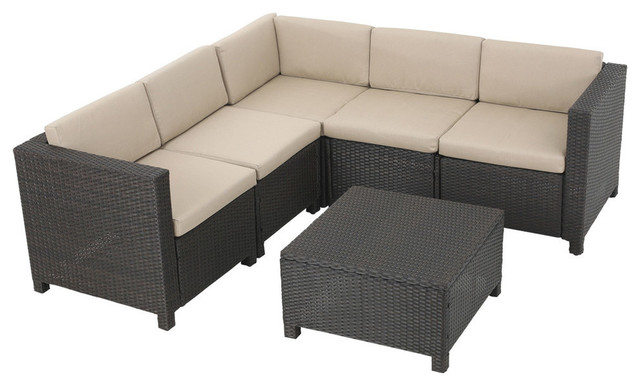 GDF Studio Valona Outdoor Wicker V Shaped Sectional Set, Dark Bown and Beige