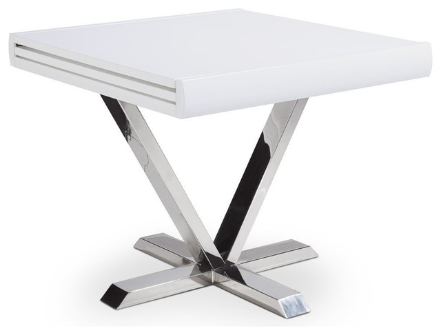 Table de repas extensible elise blanche contemporary - Table ronde extensible blanche ...