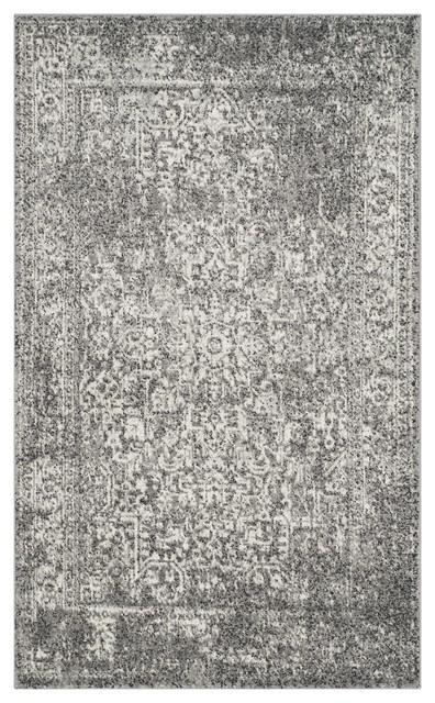 Fiorella Grey Transitional Area Rug, 91x152 cm