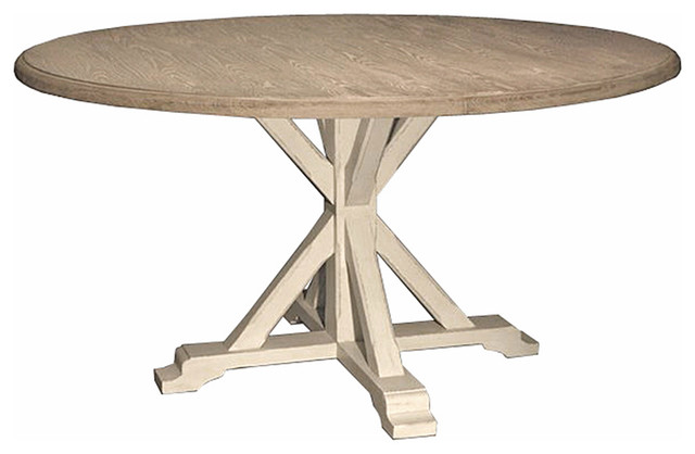 Ferro French Country White Oak Alder Wood Round Dining Table  Traditional Dining Tables