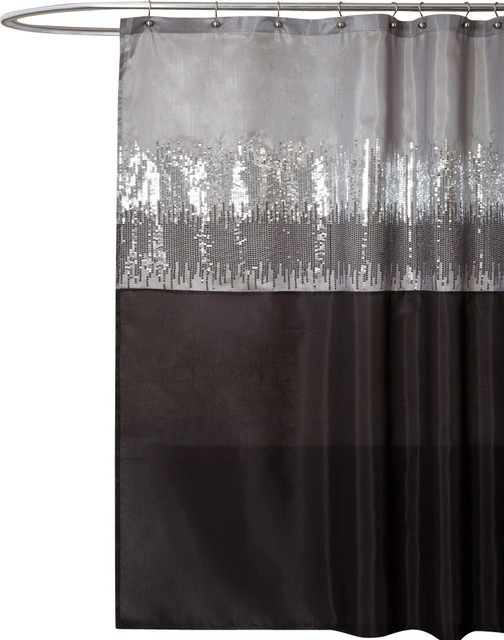 Night Sky Black And Gray Shower Curtain by Lush Decor
