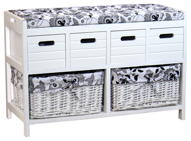 Bon Storage Bench With 4 Drawers And 2 Wicker Baskets   Traditional   Accent  And Storage Benches   By Quickway Imports