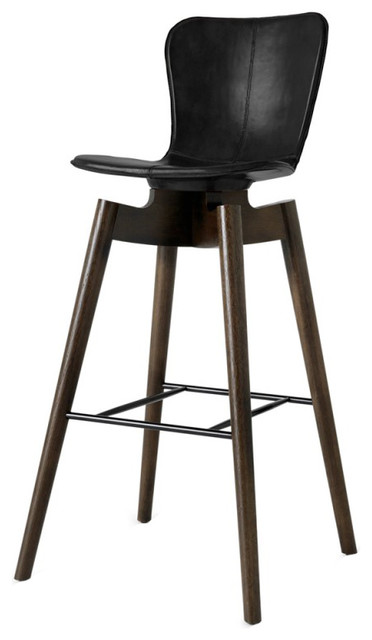Pleasant Mater Danish Modern Shell Bar Stool Black Leather Squirreltailoven Fun Painted Chair Ideas Images Squirreltailovenorg