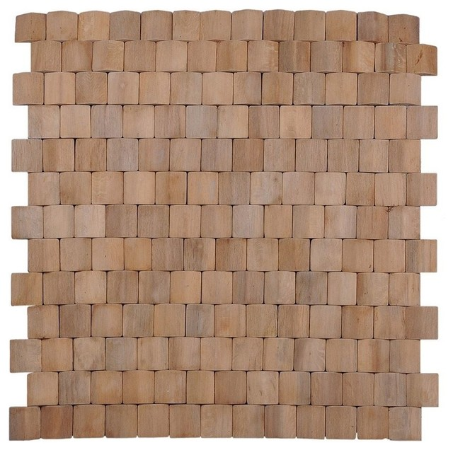 Terrace wood mosaic natural wall tiles set of 6 for Terrace floor tiles