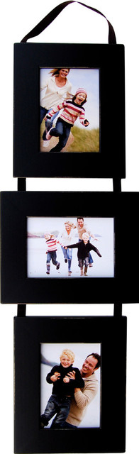 3 Opening Collage Picture Frame Set, Black Frames On Ribbon, 5\