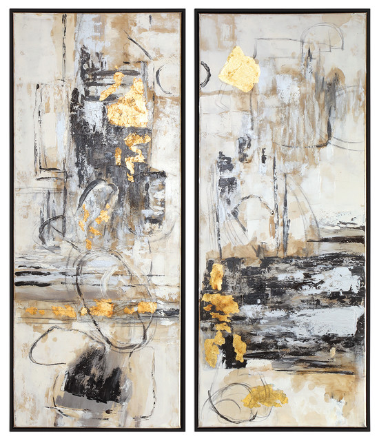 2 Piece Oversize Abstract Modern Cubist Painting Set Wall