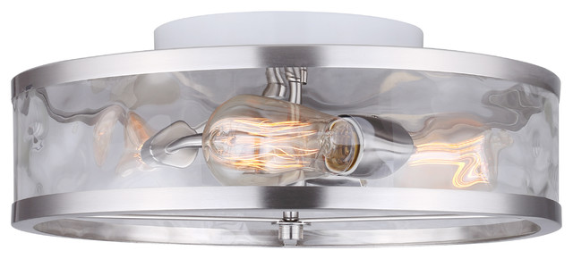 Canarm Cala 3-Light Flush Mount With Watermark Glass, Easy Connect ...
