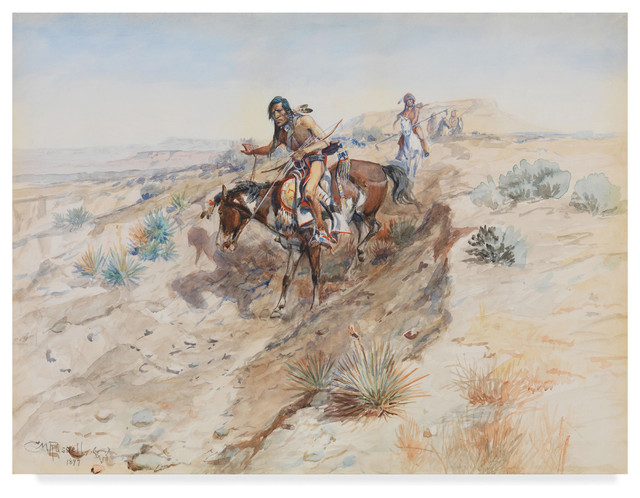 The Challenge  by Charles Russell   Giclee Canvas Print Repro