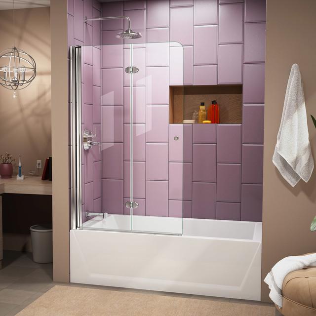 "DreamLine SHDR-3636580-01 Aqua Fold 36"" Tub Door, Clear 1/4"" Glass Door, Chrome"