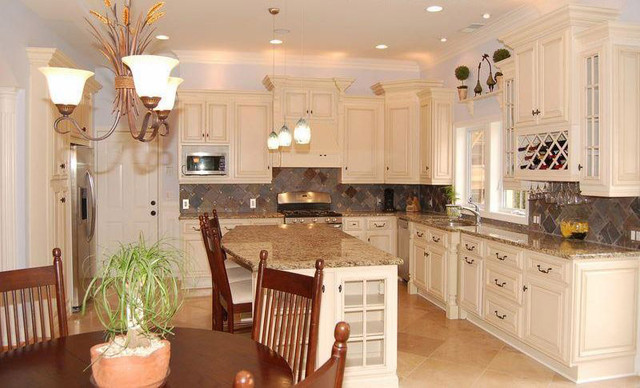 Antique White Kitchen Cabinets Home Design - Traditional