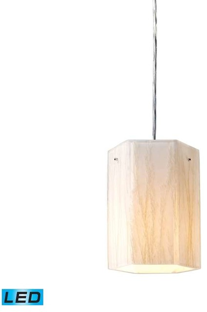Modern Organics LED 1-Light Pendant in White Sawgrass