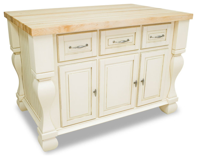 Sonoma Kitchen Island, Antique-Style White.