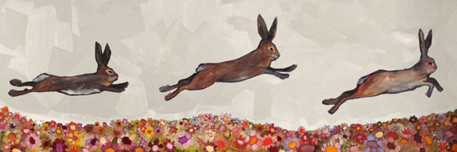 """""""brown Bunnies Jumping Over Flowers"""" Canvas Wall Art By Eli Halpin, 36""""x12"""". -1"""