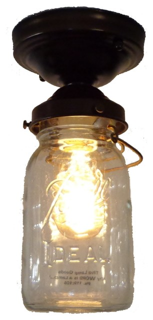 The lamp goods mason jar ceiling light vintage quart single mason jar ceiling light vintage quart single rubbed bronze transitional flush mount aloadofball