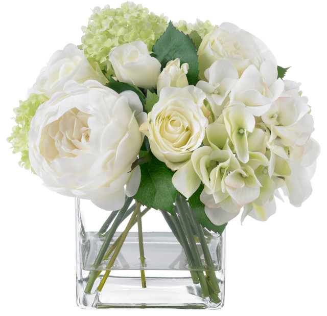 blooms summer rose and hydrangea bouquet  contemporary, Natural flower