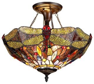 Dragan Dragonfly Semi Flush Ceiling Fixture Victorian Mount Lighting By Chloe Inc