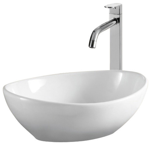 Oval White Ceramic Vessel Bathroom Sink, No Hole
