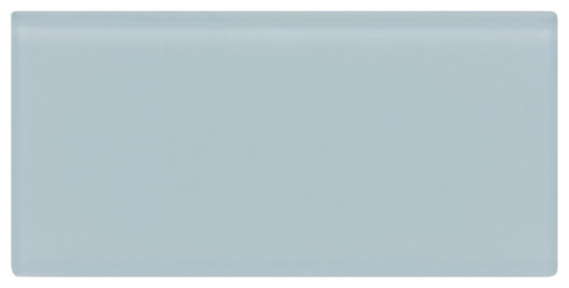 Frosted Blue Gray Subway Glass Tile Sample Contemporary Wall