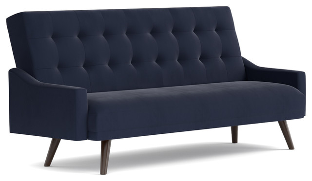 Oak Creek Click Clack Futon Sofa Bed, Navy Blue Velvet