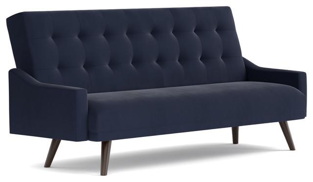 oak creek click clack futon sofa bed navy blue velvet by  u003ca class u003d shoptagr   oak creek click clack futon sofa bed navy blue velvet      rh   shoptagr