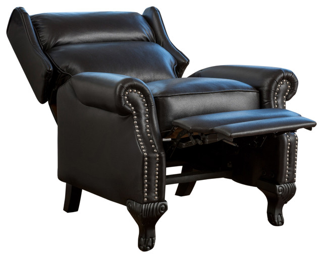 Curtis Black Leather Recliner Club Chair Traditional