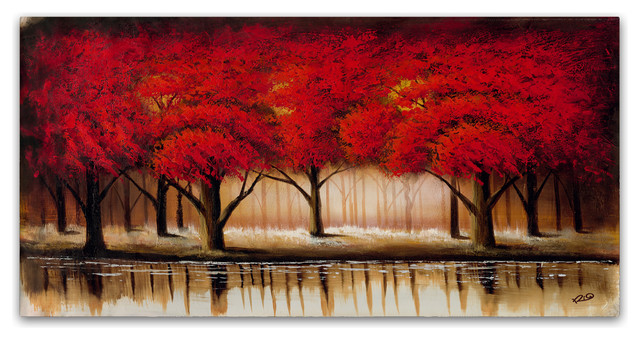 Parade Of Red Trees Ii Canvas Art By Rio Traditional