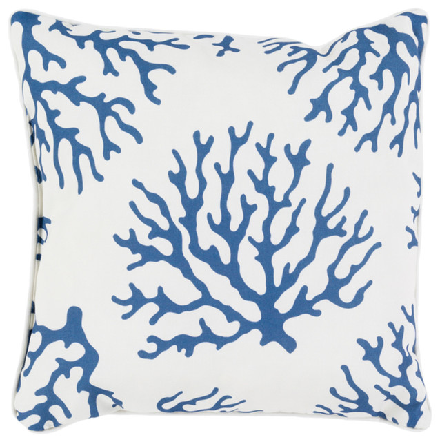 """Coral Poly-Filled Accent Pillow, Navy, 16""""x16""""x4""""."""