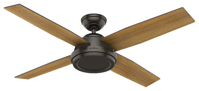 "Hunter 52"" Dempsey Noble Bronze Ceiling Fan With Handheld Remote."