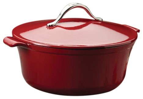 Vesta Cast Iron Cookware 5-Quart Round Covered Casserole, 7-Quart.