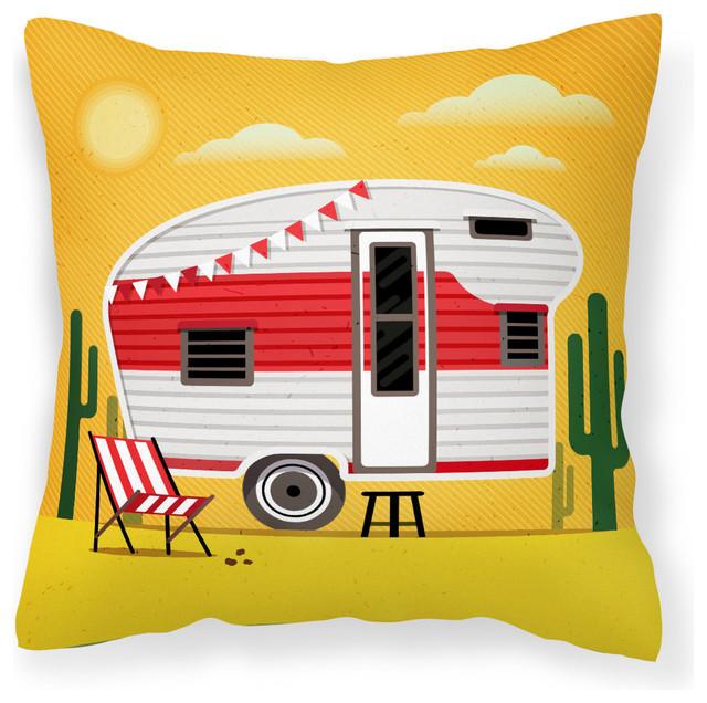 Greatest Adventure Retro Camper Desert Fabric Decorative Pillow