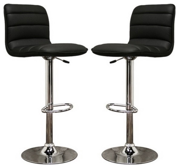 Lyris Faux Leather Bar Stools, Set of 2, Black contemporary bar stools