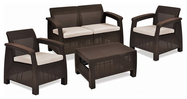 Brown Resin Wicker Patio Furniture Set With Off White Cushions