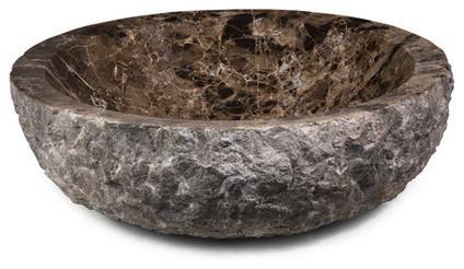 Round Stone Vessel, Dark Emperador Marble, Rough Exterior.
