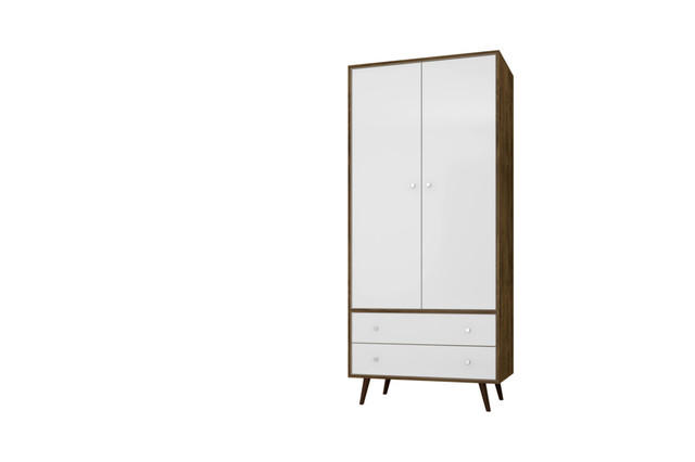 "Liberty 31.89"" Mid Century-Modern Armoire With 2 Drawers."