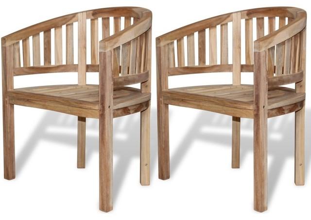 Teak Banana Chair, 2 Piece Set.